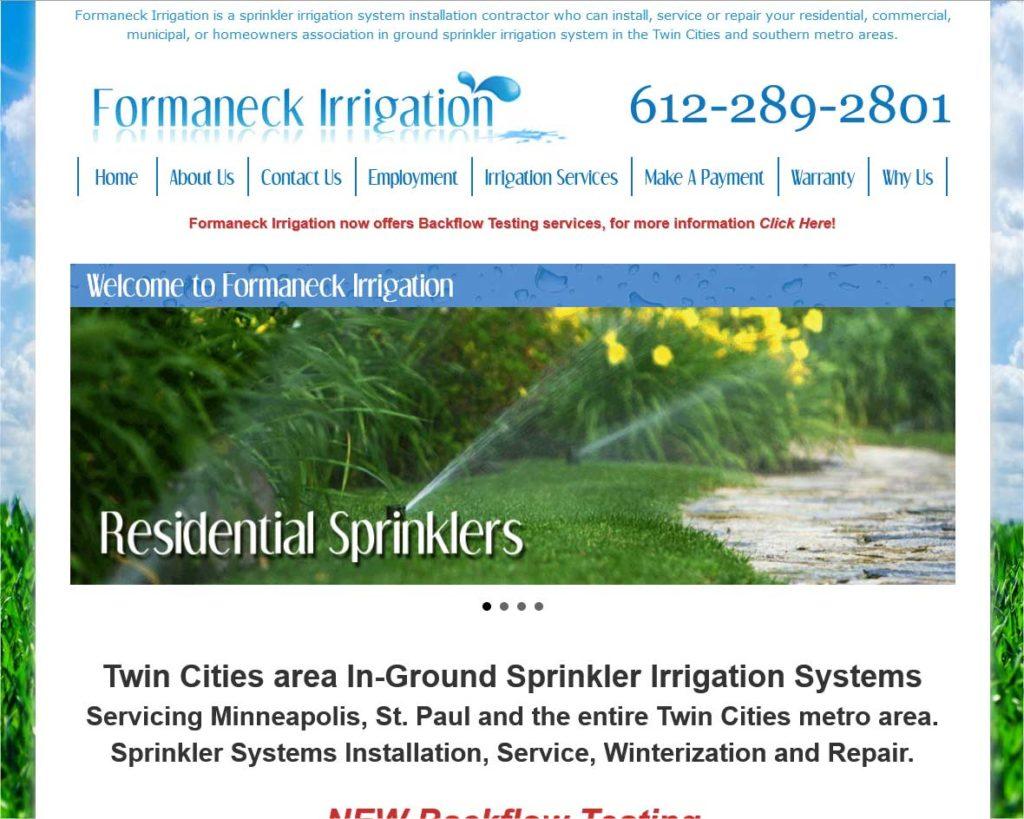 """<a href=""""https://www.formaneckirrigation.com/"""" target=""""_blank"""" rel=""""noopener noreferrer"""">Formaneck Irrigation</a> <br />Apple Valley, MN"""